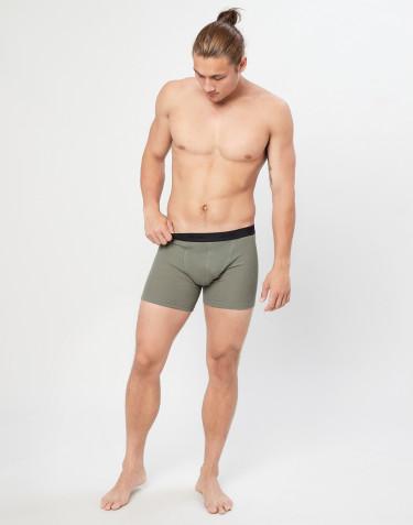 Geribde merino boxershorts olijfgroen