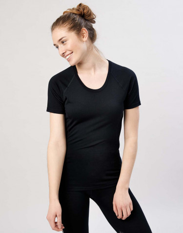 Dames T-shirt - exclusieve biologische merino wol zwart