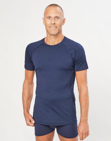 Heren T-shirt - exclusieve merino wol marineblauw
