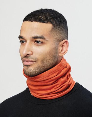 Colsjaal voor heren van natuurlijke exclusieve merino wol oranje