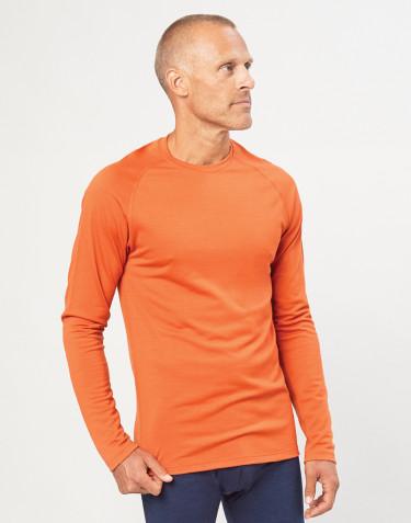 Heren trui van exclusieve biologische merino wol oranje