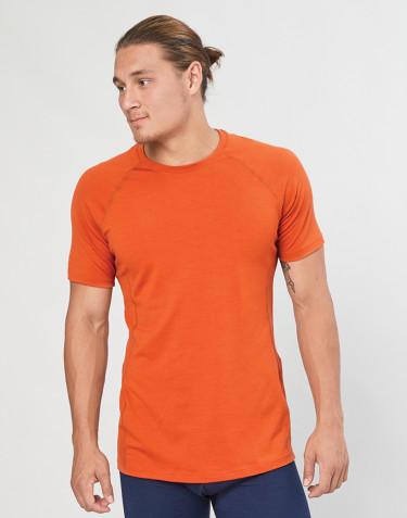 Heren T-shirt - biologische exclusieve merino wol oranje