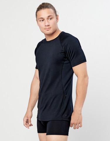 Heren T-shirt - biologische exclusieve merino wol zwart