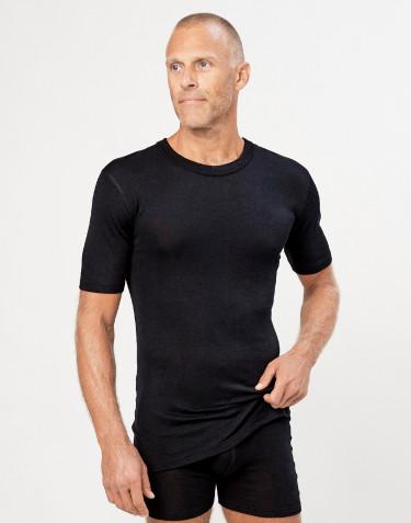 Heren t-shirt met korte mouw van wol/zijde zwart