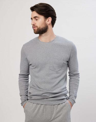 Pyjamashirt voor heren in grijs gemêleerd katoen