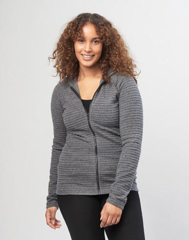 Hoodie van gestreepte wollen fleece voor dames, grijs gemêleerd