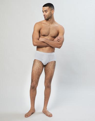 Klassiek geribde katoenen slip voor heren grijs
