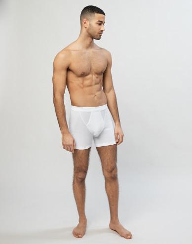 Geribde boxershorts van katoen met gulp wit