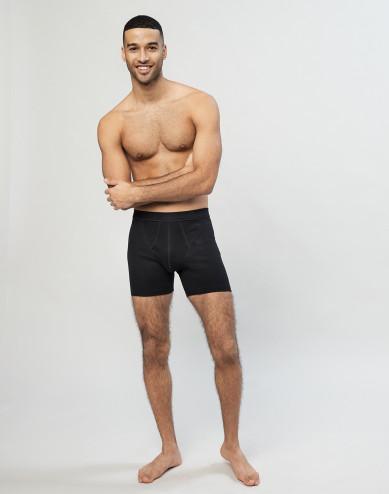 Geribde boxershorts van katoen met gulp Zwart