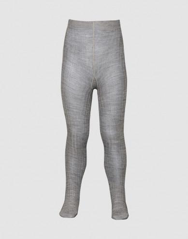 Kinder maillot - biologische merino ribstructuur grijs melange