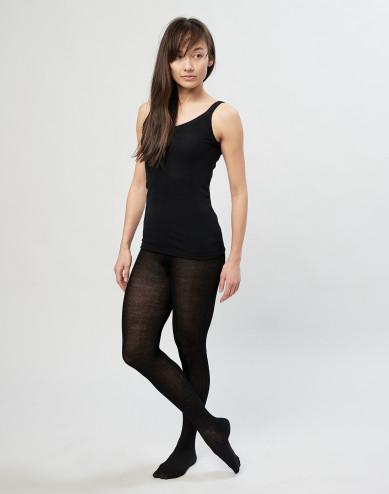 Geribde maillot van merinowol voor dames - zwart