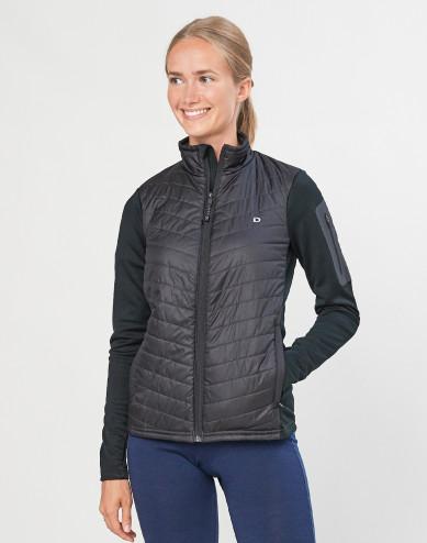 Hybride jas met ritssluiting voor dames - merino/gerecycled polyester zwart