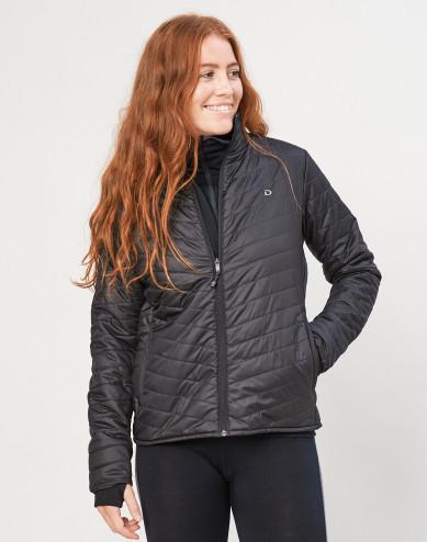 Outdoor jas met ritssluiting voor dames - merino/gerecycled polyester zwart
