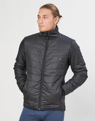 Outdoor jas met ritssluiting voor heren - merino/gerecycled polyester zwart