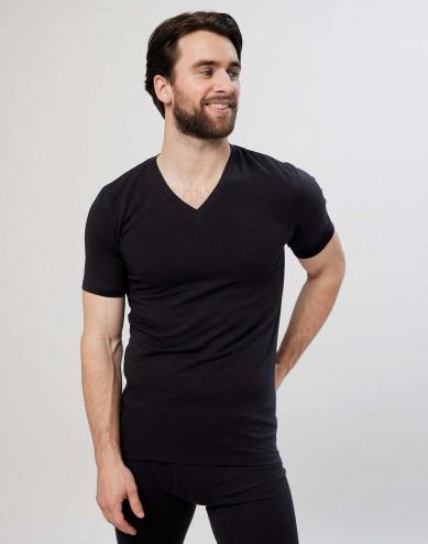 Katoenen heren T-shirt met v-hals zwart