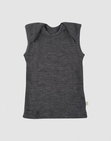 Merinos hemdje voor baby donkergrijs melange