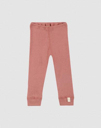 Baby legging van merino wol donker roze