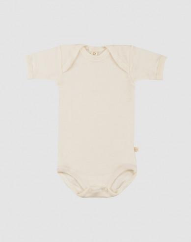 Baby romper met korte mouwen - BIO merinowol natuur
