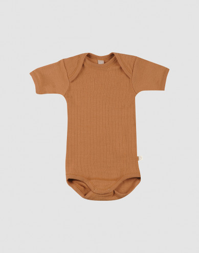 Geribd baby rompertje met korte mouwen karamel