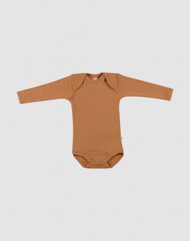 Geribd wollen baby rompertje karamel
