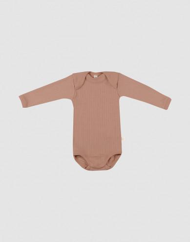 Baby romper met lange mouwen merino wol donker beige