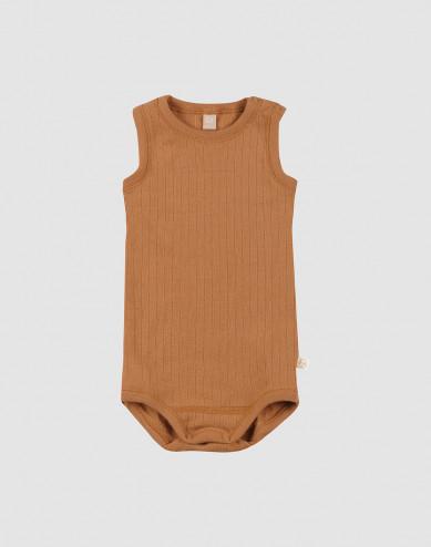 Baby romper zonder mouwen geribd karamel