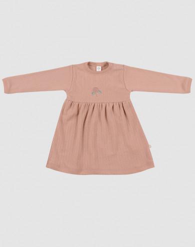 Geribde wollen jurk voor baby's donker beige