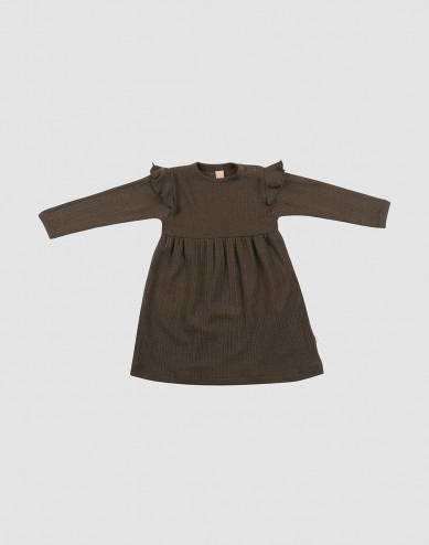 Geribde wollen baby jurk met ruches - Chocoladebruin