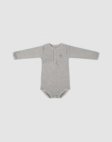 Grijze gestreepte katoenen baby romper met lange mouwen