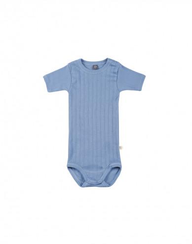Baby romper met korte mouwen van natuurlijk katoen blauw