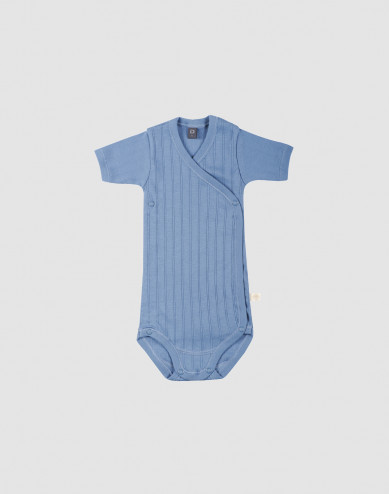 Baby wikkel romper van natuurlijk katoen blauw