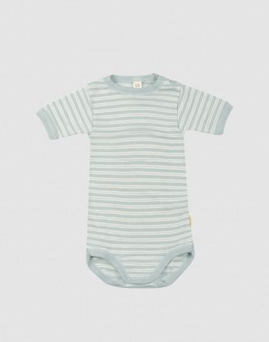 Baby romper met korte mouwen van biologische wol en zijde pastelgroen/natuur
