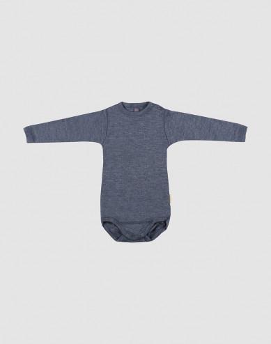 Baby romper met lange mouwen van biologische wol en zijde blauw melange