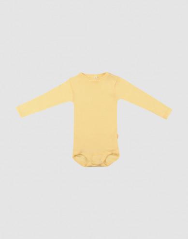 Baby romper met lange mouwen van biologische wol en zijde lichtgeel