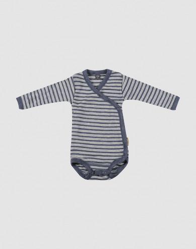 Baby wikkelromper van biologische wol en zijde blauw melange/natuur