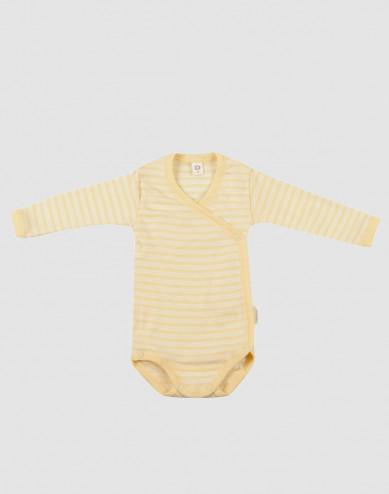 Wikkelromper voor baby's van biologische wol en zijde lichtgeel/natuur