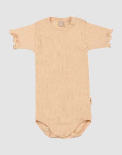 Merino wollen/zijden pointelle romper met korte mouwen voor baby's