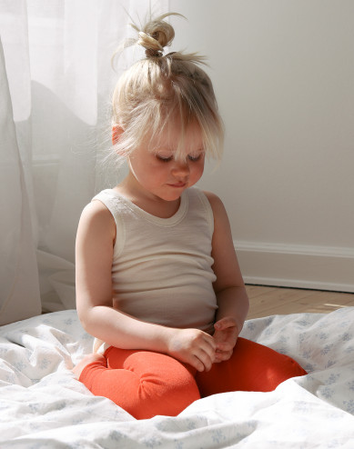 Legging van biologische wol/zijde voor kinderen - aardbeienrood