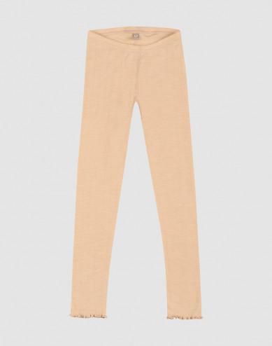 Merino wollen/zijden pointelle leggings voor kinderen