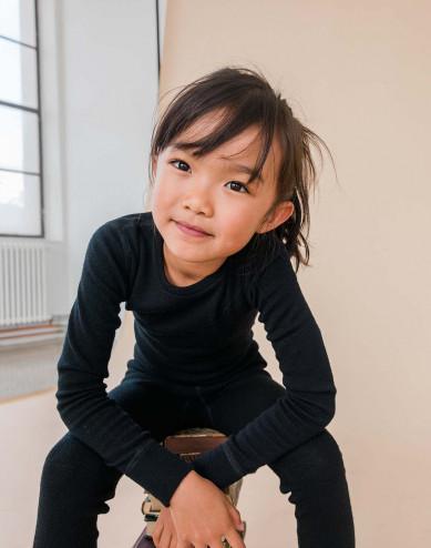 Kinder shirt gemaakt van BIO Merinowol Zwart