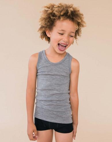 Geribd kinderhemd grijs melange