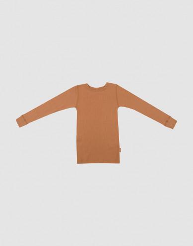 Kindertrui breed geribd karamel