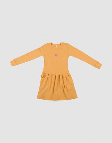 Gebreide wollen jurk geel