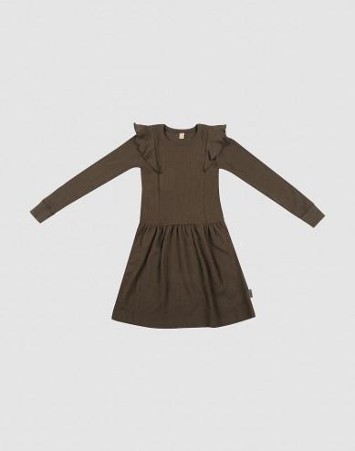 Geribde wollen jurk voor kinderen chocoladebruin