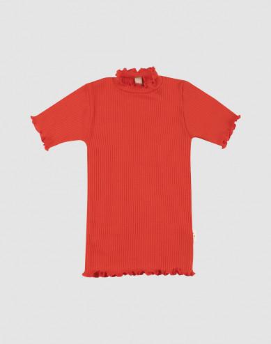 Merino wollen T-shirt met ruches aan de randen voor kinderen