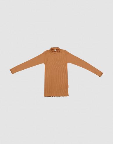Merino trui met golvende randen voor kinderen karamel