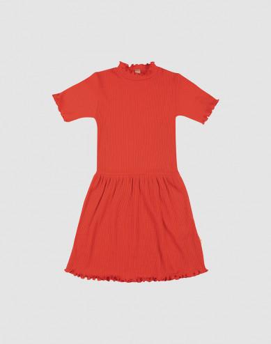 Merino wollen jurk met ruches aan de randen voor kinderen
