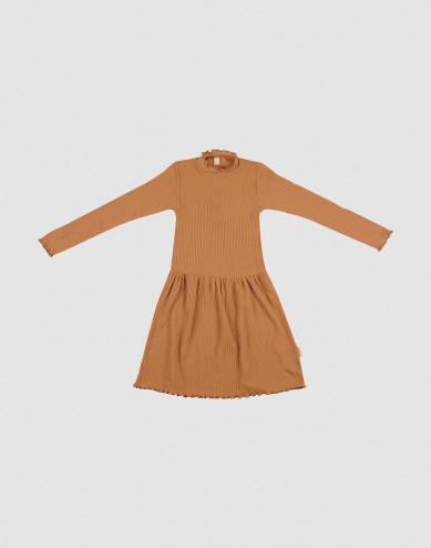 Merino jurk met golvende randen voor kinderen karamel