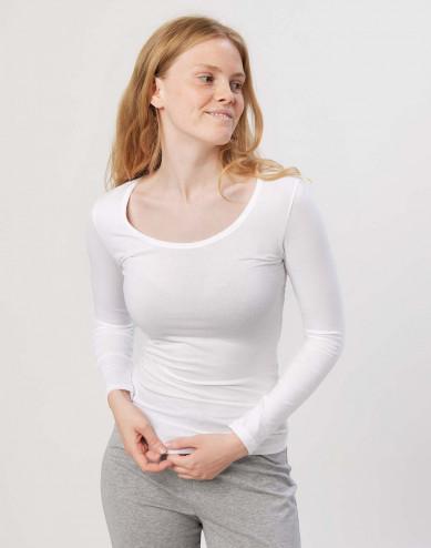 Katoenen dames shirt wit