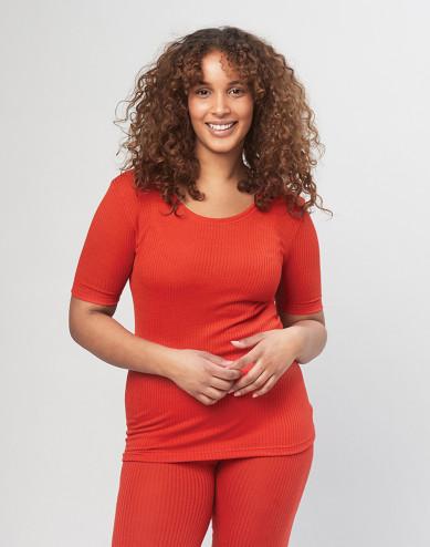 T-shirt van geribde merino wol voor dames - rood